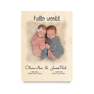 Hello World Twins Newborn Print